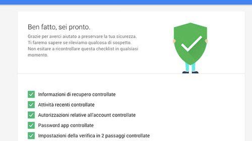 impostazioni sicurezza google