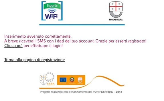 wi-fi gratis sestri ponente conferma registrazione