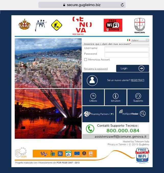 wi-fi gratis sestri ponente portale di autenticazione